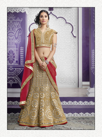 Beige Color Gota Embroidery And Mirror Work Semi Stitched Lehenga Choli