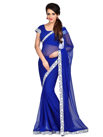 Multi Colored Chiffon Designer Lace Saree With Chiffon Blouse