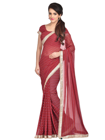 Maroon Colored Georgette Designer Lace Saree With Georgette Blouse