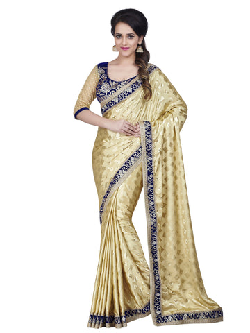 Beige Colored Silk Designer Lace Saree With Velvet & Net Blouse