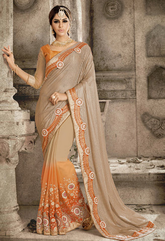 Beige & Orange Color Georgette & Net Embroidery Work Saree With Un-Stitch Blouse