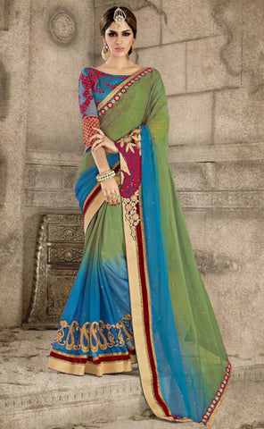Blue & Green Color Art Silk Embroidery Work Saree With Un-Stitch Blouse