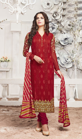 Maroon Colored Georgette Embroidered Work Designer Salwar Suit