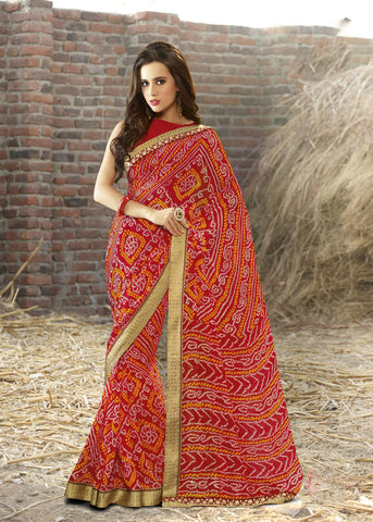 Red Color Georgette Lace Border Work Bandhani Saree With Un-Stitch Blouse