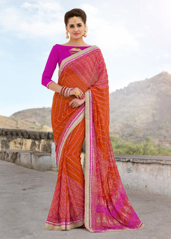 Pink And Orange Color Georgette Lace Border Work Bandhani Saree With Un-Stitch Blouse