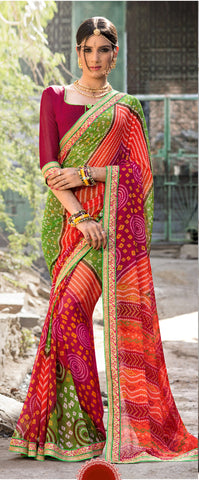 Multi Color Georgette Lace Border Work Bandhani Saree With Un-Stitch Blouse