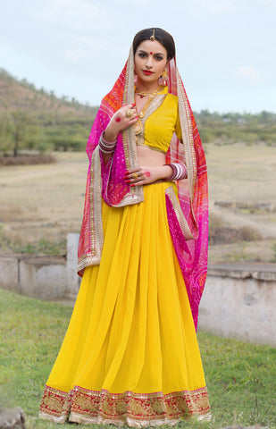 Yellow And Pink Color Georgette Lace Border Work Bandhani Saree With Un-Stitch Blouse