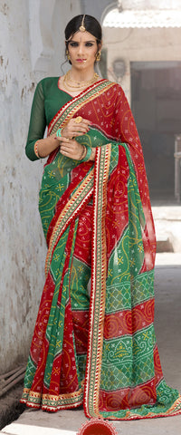 Red And Green Color Georgette Lace Border Work Bandhani Saree With Un-Stitch Blouse
