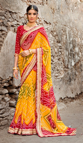 Yellow Color Georgette Lace Border Work Bandhani Saree With Un-Stitch Blouse