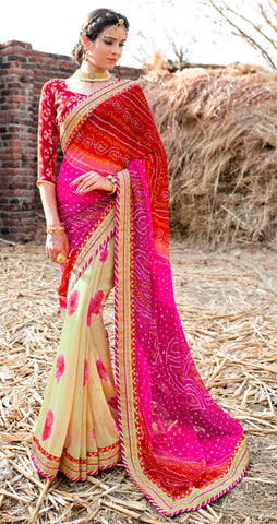 Pink And Beige Color Georgette Lace Border Work Bandhani Saree With Un-Stitch Blouse