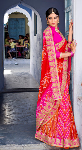 Pink And Red Color Georgette Lace Border Work Bandhani Saree With Un-Stitch Blouse