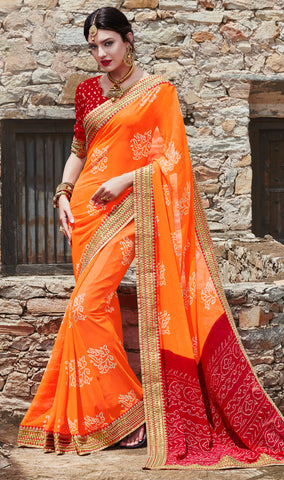 Orange Color Georgette Lace Border Work Bandhani Saree With Un-Stitch Blouse