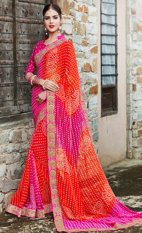 Orange And Pink Color Georgette Lace Border Work Bandhani Saree With Un-Stitch Blouse