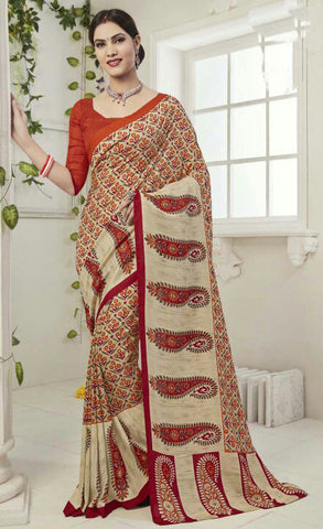 Beige Color Art Silk Printed Saree With Art Silk Blouse