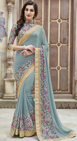 Duck Egg Blue Color Georgette Lace,Border & Printed Saree With Georgette Blouse