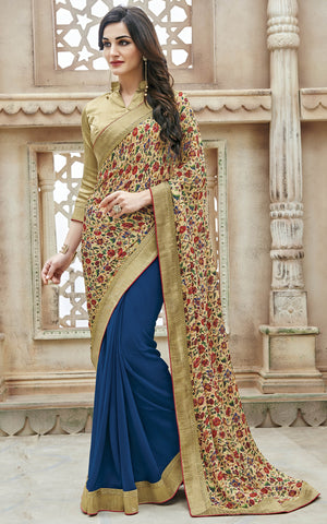 Blue & Beige Color Georgette Lace,Border & Printed Saree With Georgette Blouse