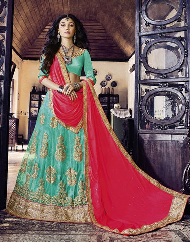 Aqua & Blue Colored Net Heavy Embroidered Semi Stitched Lehenga Choli