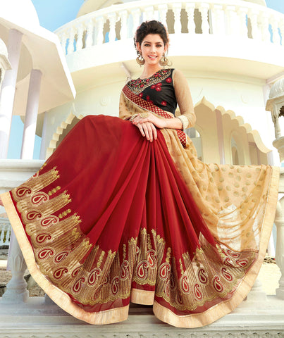 Beige And Red Colored Georgette Embroidered Saree With Blouse