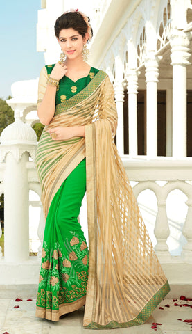 Beige And Green Colored Net And Georgette Embroidered Saree With Blouse