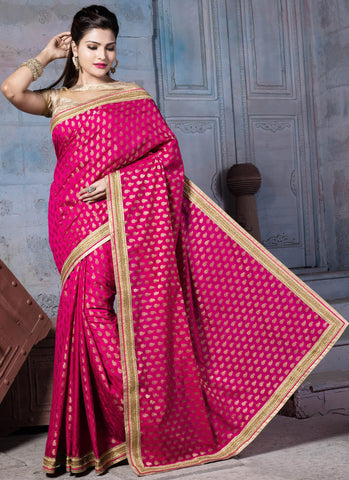 Rani Pink Colored Nylon Banarsi Zar Jacquard Lace Border Saree With Blouse