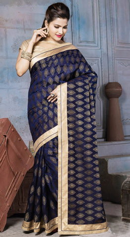 Navy Blue Colored Nylon Banarsi Zar Jacquard Lace Border Saree With Blouse