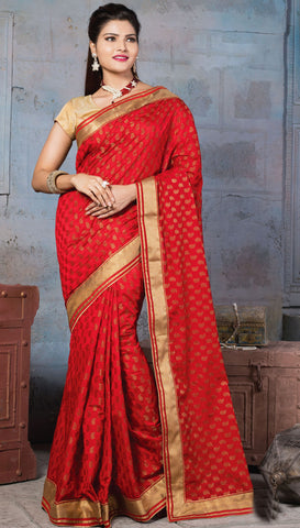 Red Colored Nylon Banarsi Zar Jacquard Lace Border Saree With Blouse