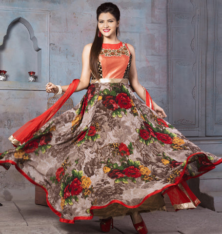 Multi Color Georgette Fabric Embroidery & Printed Designer Anarkali Suit