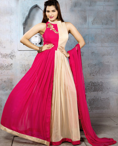 Cream & Rani Pink Color Georgette Fabric Patch Work Designer Anarkali Suit
