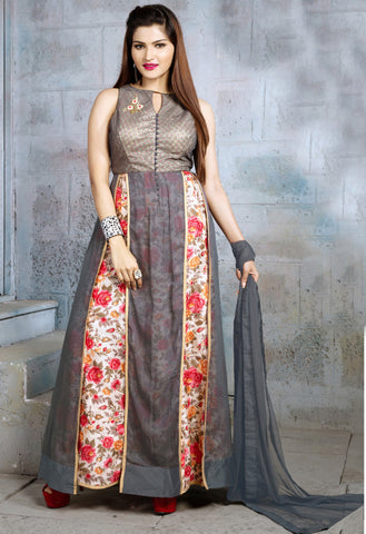 Grey & Cream Color Georgette Fabric Patch Work & Printed Designer Anarkali Suit