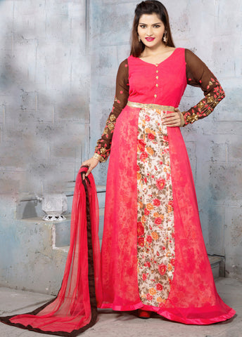 Pink & Cream Color Georgette Fabric Embroidered & Printed Designer Anarkali Suit