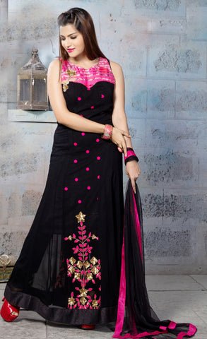 Black Color Georgette Fabric Patch Work Designer Anarkali Suit