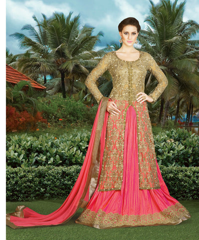 Beige Color Net Fabric Embroidery & Stone Work Designer Anarkali Suit