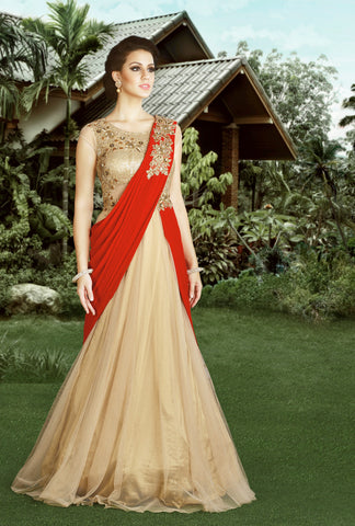 Beige Color Sequenc & Net Fabric Embroidery & Stone Work Designer Anarkali Suit