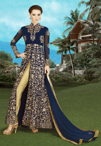 Navy Blue Color Georgette Fabric Embroidery & Stone Work Designer Anarkali Suit