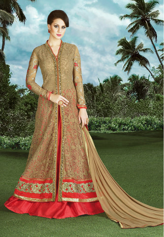 Fawn Color Fancy Net Fabric Embroidery & Stone Work Designer Anarkali Suit