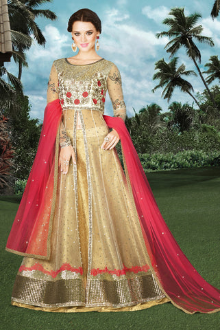 Beige Color Net Fabric Sequence & Embroidery Work Designer Anarkali Suit