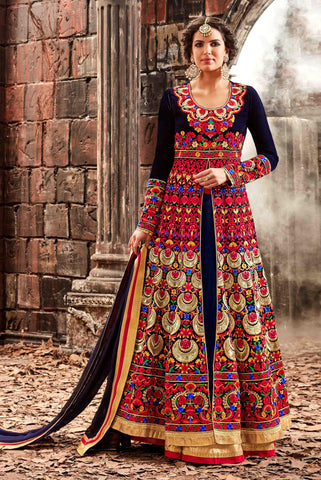 Blue Color Velvet Fabric Embroidery & Stone Work Designer Anarkali Suit