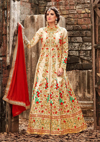 Beige Color Silk Fabric Embroidery & Stone Work Designer Anarkali Suit