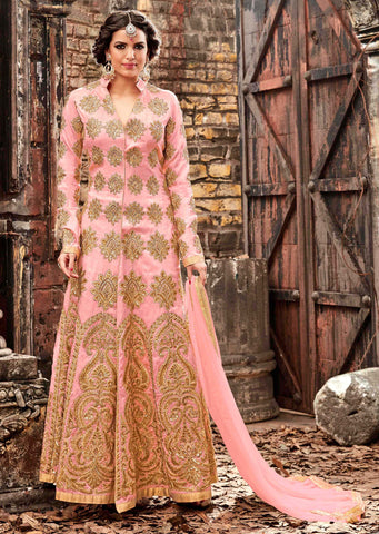 Light Pink Color Silk Fabric Embroidery & Stone Work Designer Anarkali Suit