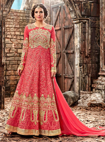 Peach Color Silk Fabric Embroidery & Stone Work Designer Anarkali Suit