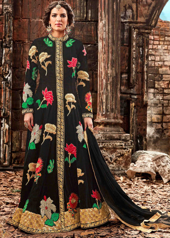 Black Color Velvet Fabric Embroidery & Stone Work Designer Anarkali Suit