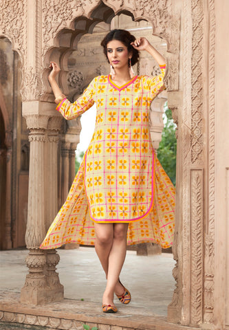 Beige & Orange Colored Cotton Printed & Stone Work Stitched Kurti