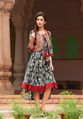 Black & White Colored Cotton Printed & Gota With Mirror Work Stitched Kurti