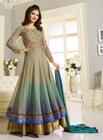 Fawn & Sea Green & Blue Color Net Fabric Embroidery Work Designer Anarkali Suit