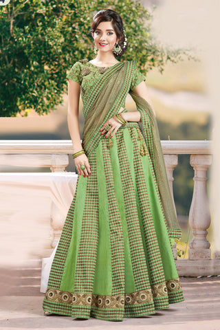 Fern Green Colored Jacquard Heavy Embroidered Un Stitched Lehenga Choli