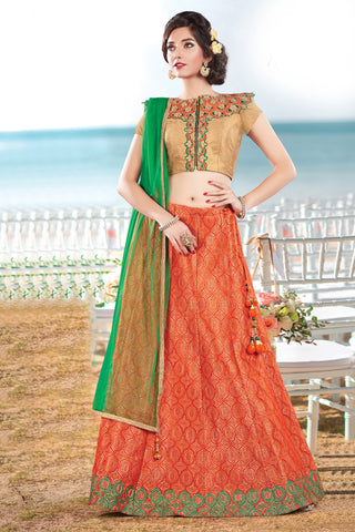 Orange Colored Jacquard Silk Heavy Embroidered Semi Stitched Lehenga Choli