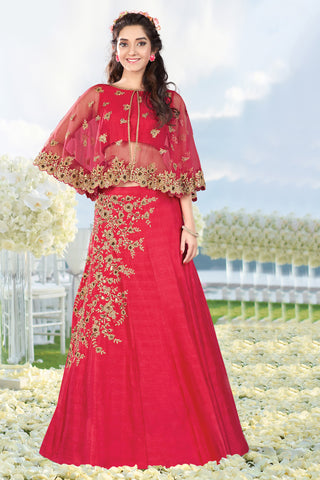 Corel Red Colored Raw Silk Heavy Embroidered Semi Stitched Lehenga Choli