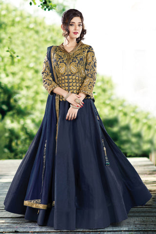 Navy Blue Colored Raw Silk Heavy Embroidered Semi Stitched Lehenga Choli