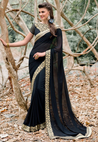 Black Colored Georgette Embroidered Saree With Blouse