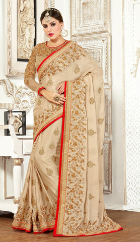 Beige Colored Bemberge Embroidery Work Designer Saree With Blouse